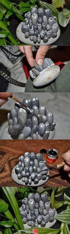 Create stone critters for the garden - Alternative Energy and Gardening. It's cute and unexpected.