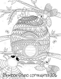Honey Bee Hive Coloring Page Printable Pages Adult Hand Drawn