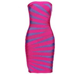 Stripe Strapless Bandage Dress H117E