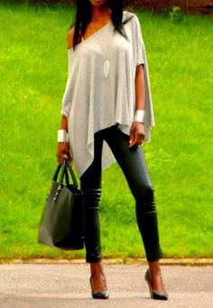 Oversize one shoulder top with legging fashion