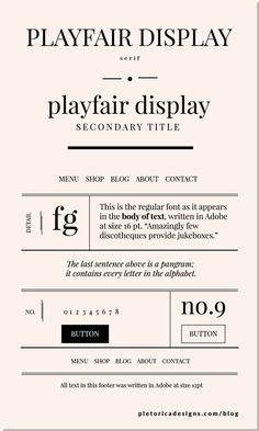 Playfair Display is ideal for logos, especially in italics, because it highlights the contrast between its fat and thin lines. Graphic Design Fonts, Web Design, Typography Design, Branding Design, Lettering, Email Design, Jessica Hische, Times New Roman, Typographic Logo