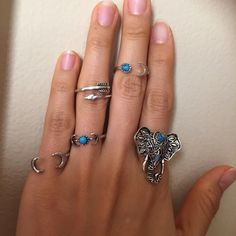 Tibetan silver 5 rings set Brand new, tibetan silver plated , size :3,4,7 ,9 and adjustable Woowaa Jewelry Rings