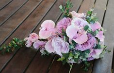 POST CHRISTMAS SALE Teardrop, cascade bridal bouquet, artificial wedding bouquet.  Garden roses and orchids. Pink, mauve, musk flowers.