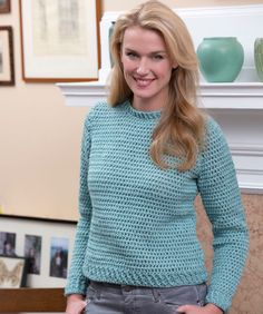 Feel comfy in this classic style sweater that can be worn with anything from skirts to jeans or even shorts. Crocheted in smoothon- the-skin yarn you'll love having this sweater in your...