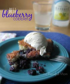 The Best Blueberry Cobbler Recipe Ever! (I promise!) - The Peaceful Mom  #blueberries  #summer  #recipe