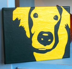 Golden Retriever Acrylic Painting in yellow and green £145.00