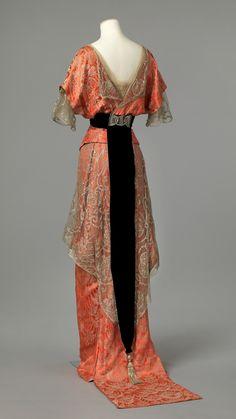 Ephemeral Elegance | Metallic Brocade and Lace Evening Dress, ca....
