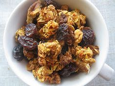 carrot cake granola with coconut, pecans, and raisins