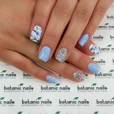 Image via Cute And Creative Swirl Nail Art Image via botanic nails design 2015 Image via botanic nails Image via Image via Simple Botanic Nail Art Designs for Short N Periwinkle Nails, Baby Blue Nails, Blue Nails With Glitter, Nail Art Blue, Blue Gel Nails, Light Blue Nails, Glitter Accent Nails, Acrylic Nails, Nail Designs 2015