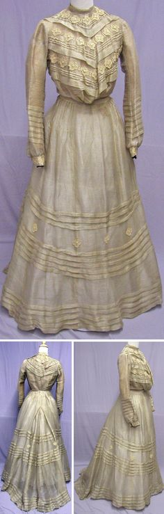 Gibson Girl, 1890s silk and wool ensemble. Two-piece dress of a sheer silk and wool blend. svpmeow1/ebay.