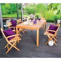 Salon de jardin résine Lua 7 places avec coussins gris clair | Salons