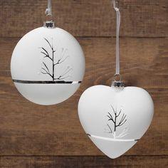 2 Piece Heart/Disc Glass Ornament Set