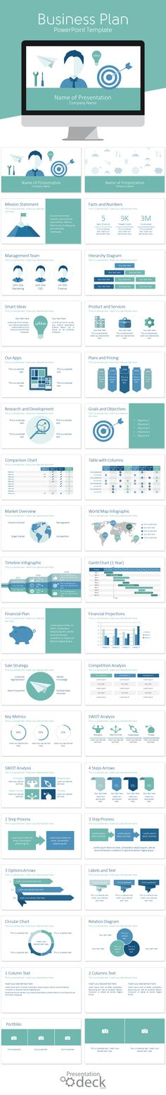 Business plan PowerPoint template in flat design style with 36 pre-designed slides. This deck includes slides on the following topics; mission, management team, products & services, objectives, financial projections, research and development, world map infographic, and many more useful charts and diagrams.
