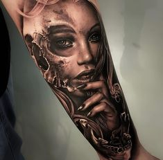 Skin Giants - The Best Tattoos ( Skull Girl Tattoo, Skull Sleeve Tattoos, Girl Face Tattoo, Best Sleeve Tattoos, Sleeve Tattoos For Women, Tattoo Sleeve Designs, Black And Grey Tattoos Sleeve, Forarm Tattoos, Leg Tattoos