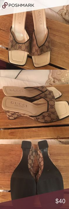 SOLD Gucci slip on wedges 11 they run smaller Gucci slip on shoes size 11 in immaculate brand-new condition just has two little marks that are in significant when wearing them other than that they are totally brand-new never been worn just put away.they are size 11 that run smaller Gucci Shoes Wedges