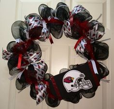 Custom deco mesh Arizona Cardinals wreath
