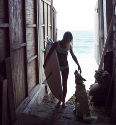 surf girl with dog