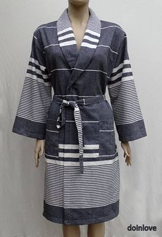Black colour soft Turkish cotton light weight dressing gown