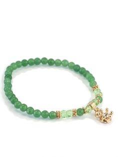 Damen Armband Halbedelsteine Charms, grün von Fashion Jewelry bei www.meinkleidchen.de