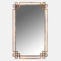 A thin brass scroll effect frame borders the outside of this oriental inspired mirror.With a clean, understated look, this mirror is an enticing fusion of Chinese style and contemporary design. This mirror would be perfect for adding a touch of stylish simplicity to any interior and would make a lovely wedding or house warming present. (Please note this mirror can only be hung portrait style.)Metal and glass, occasional dusting and glass polish requiredH94 x W58cm