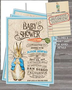 Another Baby shower invite idea?? Vintage Peter Rabbit Beatrix Potter Baby Shower by InvitingParties, $17.99