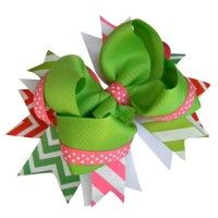 Pink and Green Chevron Polka Dot Bow #Style & #Fashion 9thelm.com