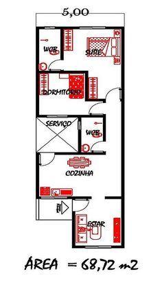 planta baixa com 70 m² com 5m de largura - Pesquisa Google