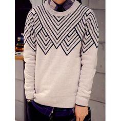 Vintage Waviness Jacquard Round Neck Long Sleeve Men's Sweater (LIGHT GRAY,XL) in Cardigans & Sweaters | DressLily.com