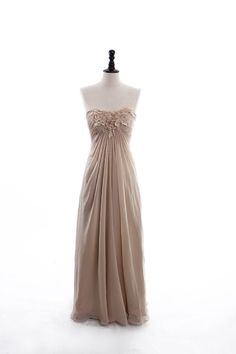 Fashionable Strapless Natural Waist Chiffon Dress bridesmaid dress