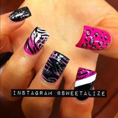 Lovee the black nail with the diagonal white stripe and purple zebra print