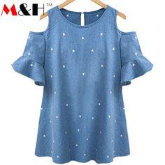 Tienda Online XL-5XL Sexy Hombro Blusa Superior Más El Tamaño Haut Femme Camisas ocasionales de Las Mujeres 2016 Tops de Verano de Las Señoras Flojas Tops Blusa Feminino | Aliexpress móvil