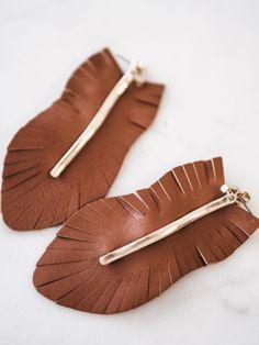 Brown Genuine Leather Earrings