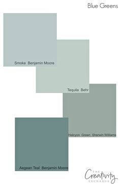 Muted timeless blue green cabinet paint colors that work well in a variety of lighting situations.