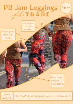 PB Jam Leggings - PDF sewing pattern for exercise gear - Stylish leggings with hidden pocket Workout Leggings, Workout Gear, Patterned Leggings, Pdf Sewing Patterns, Sewing Ideas, Swirl Design, Learn To Sew, Mesh Fabric, Dressmaking