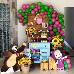 Image may contain: 1 person Bear Birthday, Birthday Diy, 2nd Birthday Parties, Diy Birthday Decorations, Balloon Decorations, Krishna Birthday, Marsha And The Bear, Bear Party, Happy Birthday Greetings