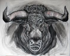 Bull, charcoal on canvas Michael Walsh