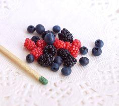 MINIATURE BERRIES set of 3  raspberries by BadgersBakery on Etsy