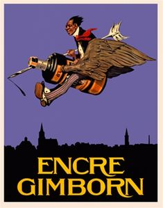 Encre Gimborn 1925 Belgium - Beautiful Vintage Poster Reproduction. This vertical Belgian product poster features a man riding an ink bottle with wings flying in a purple sky over a skyline silhouette. Giclee Advertising Print. Classic Posters