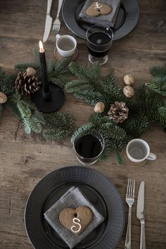 rustic christmas table setting More More