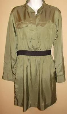 Theory Green Silk Blend Shirt Dress Belted Waist New Size 8