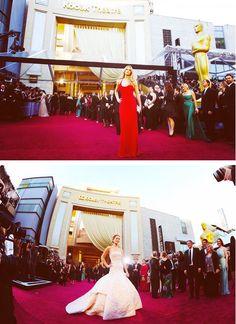 Jennifer during Oscar 2010 and Oscar 2013....
