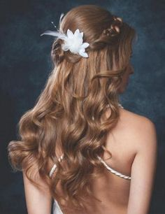 wedding half updos with flowers | Back view of the romantic fairytale wedding hairstyle
