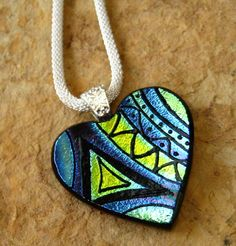 Fused Glass Heart Pendant Dichroic Fused Glass Hand by GlassCat, $35.00