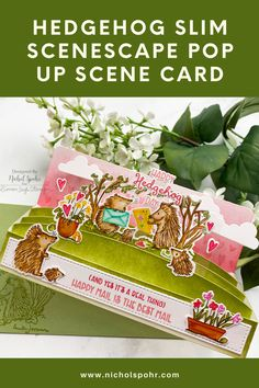 This Slim Scenescape Builder card combinines new May 2021 products from both Mama Elephant and Colorado Craft Company! I love how the Slim Scenescape Builder Dies create a slimline style pop up box card and how you can use them with any of your favorite image stamps to build darling scenes! Hedgehog Day, Stamp Drawing, Mama Elephant Stamps, Heart Stencil, Fun Mail, Pop Up Box Cards, Image Stamp, Flower Shower, Little Unicorn