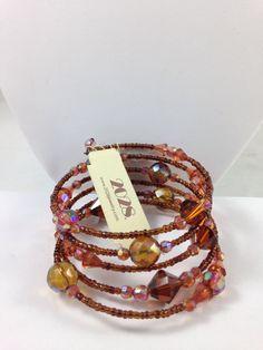 1928 Jewelry Bracelet bronze/multi Swarovski crystals wirewrap style beadingNEW #1928JewelryCo #Beaded