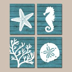 ★Beach BATHROOM Wall Art, CANVAS or Prints, Nautical Coastal Bathroom Decor, Aqua Starfish Seahorse, Coral Reef, Wood Plank Design, Set of 4 ★Includes
