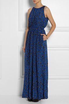 SEA Printed silk-blend maxi dress