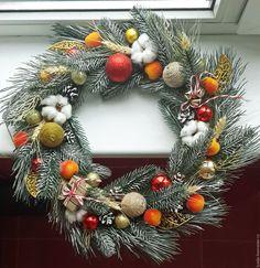 Купить Новогодний венок - тёмно-зелёный, новогодний венок на дверь, рождественский венок, новогодний декор