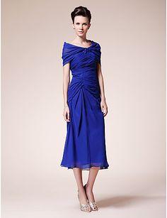 Sheath/ Column Sweetheart Tea-length Chiffon Mother of the Bride Dress With A Wrap - USD $ 116.39