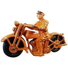 Cast Iron, It Cast, Rubber Tires, Black Rubber, Cool Toys, Vintage Toys, Amazing Toys, Motorcycle, Ruby Lane